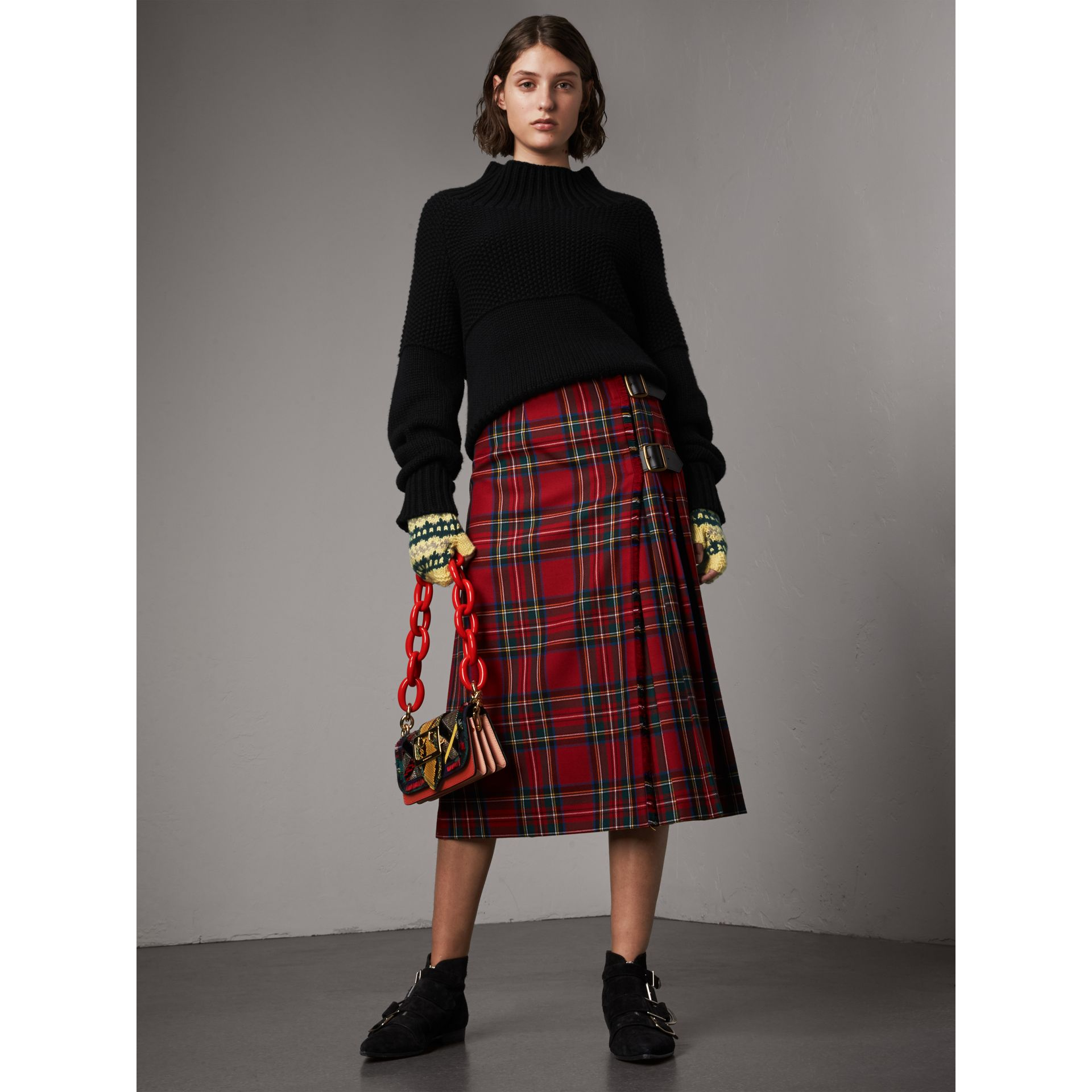 Tartan Wool Kilt in Bright Red - Women | Burberry - gallery image 0