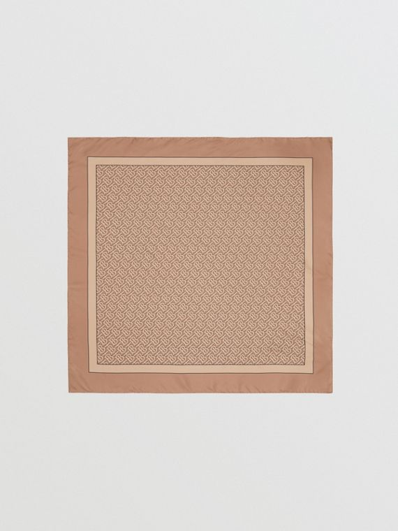 Monogram Print Silk Square Scarf in Camel