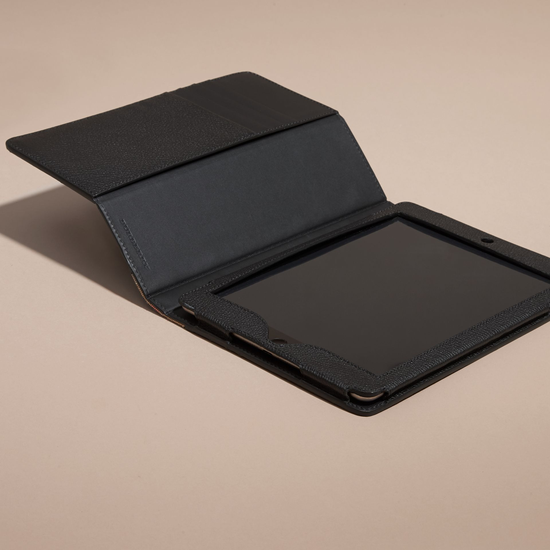 Black Grainy Leather and House Check iPad Case Black - gallery image 3