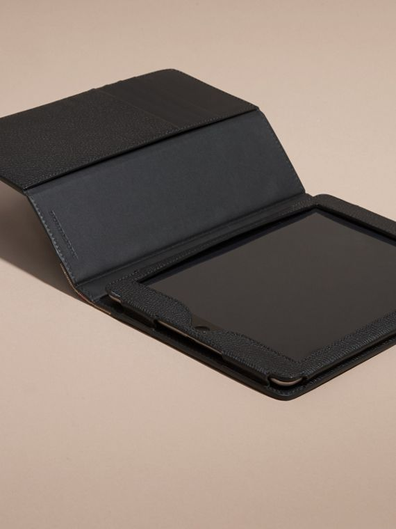 Black Grainy Leather and House Check iPad Case Black - cell image 2