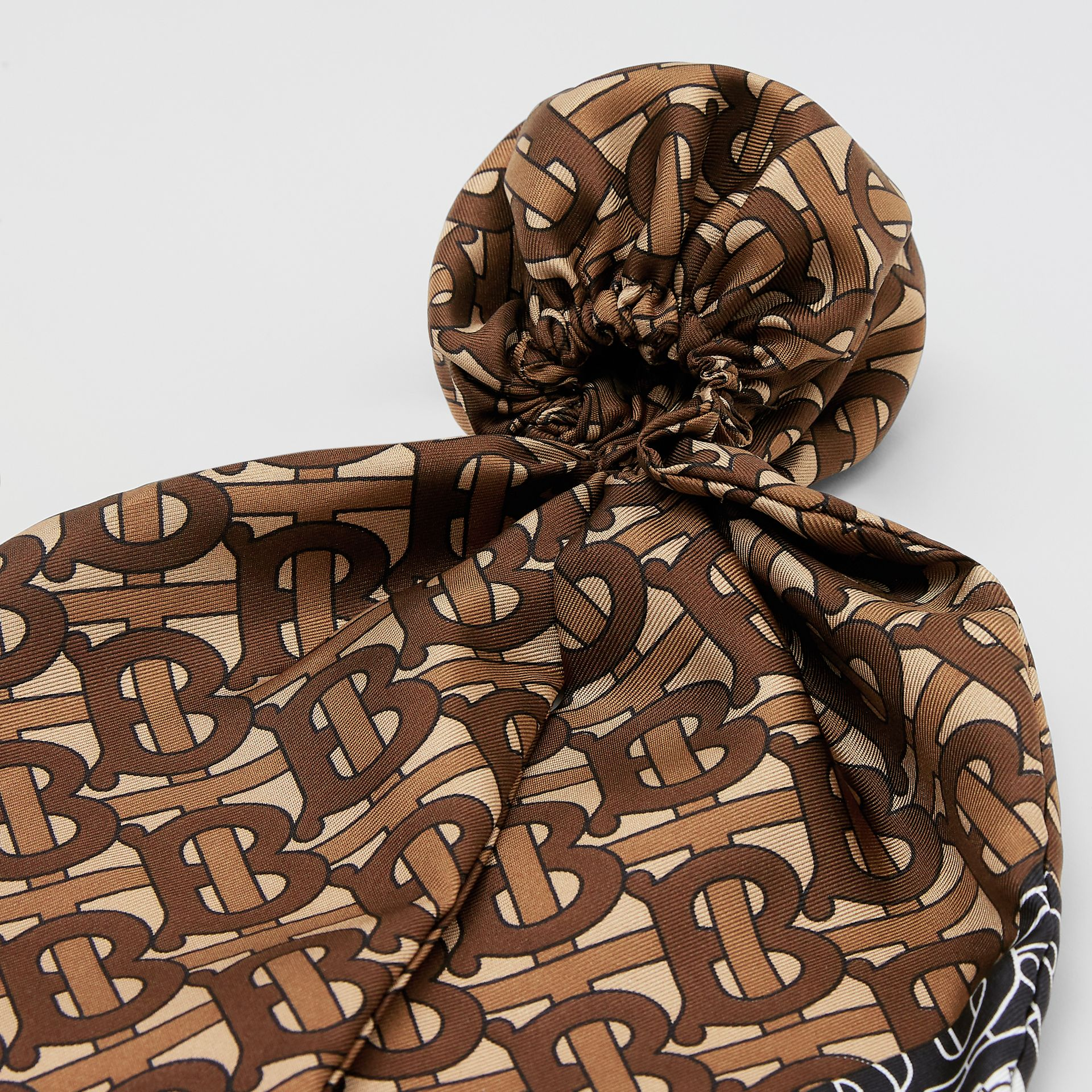 Monogram Stripe Print Silk Hair Scarf in Bridle Brown - Women | Burberry - gallery image 4