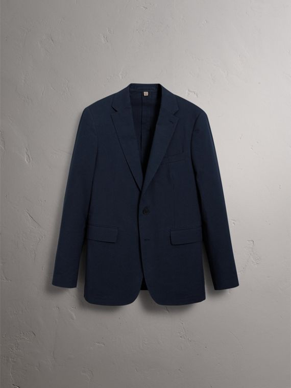 Soho Fit Cotton Silk Seersucker Suit in Navy - Men | Burberry - cell image 3