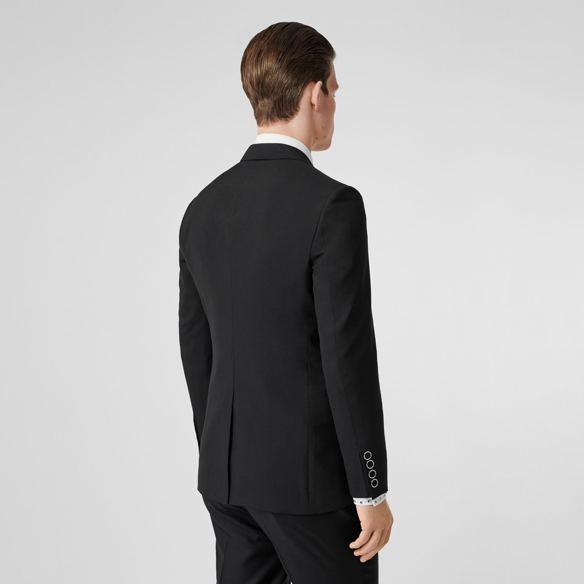 Slim Fit Press-stud Tumbled Wool Tailored Jacket in Black - Men | Burberry - gallery image 2