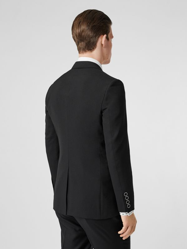 Slim Fit Press-stud Tumbled Wool Tailored Jacket in Black - Men | Burberry - cell image 2