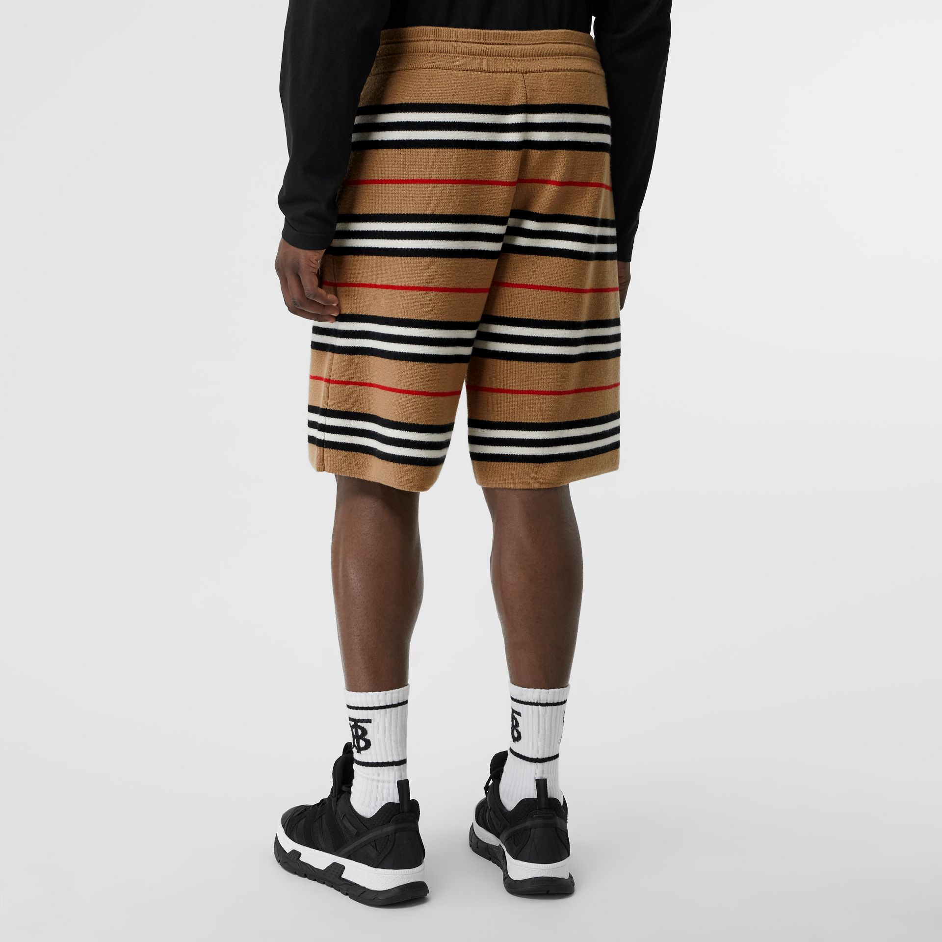 Icon Stripe Merino Wool Drawcord Shorts in Archive Beige - Men | Burberry - gallery image 2