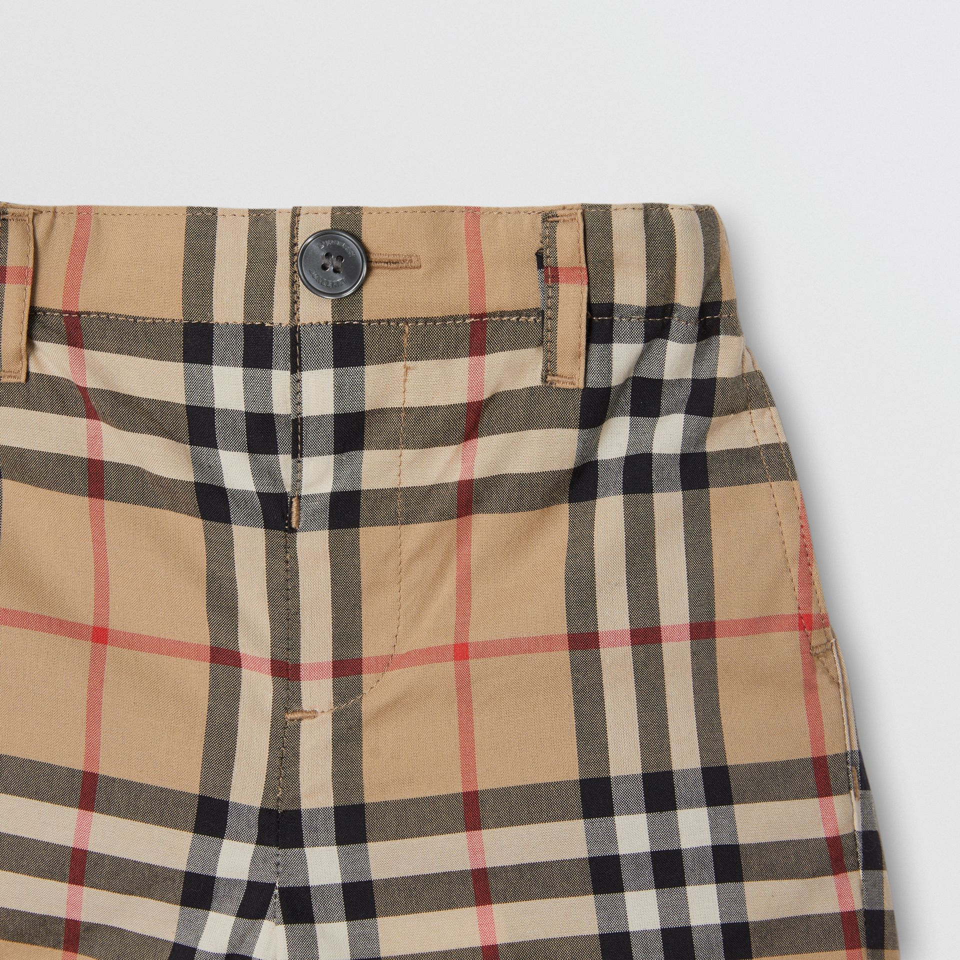 Vintage Check Cotton Poplin Tailored Shorts in Archive Beige - Children | Burberry - gallery image 3
