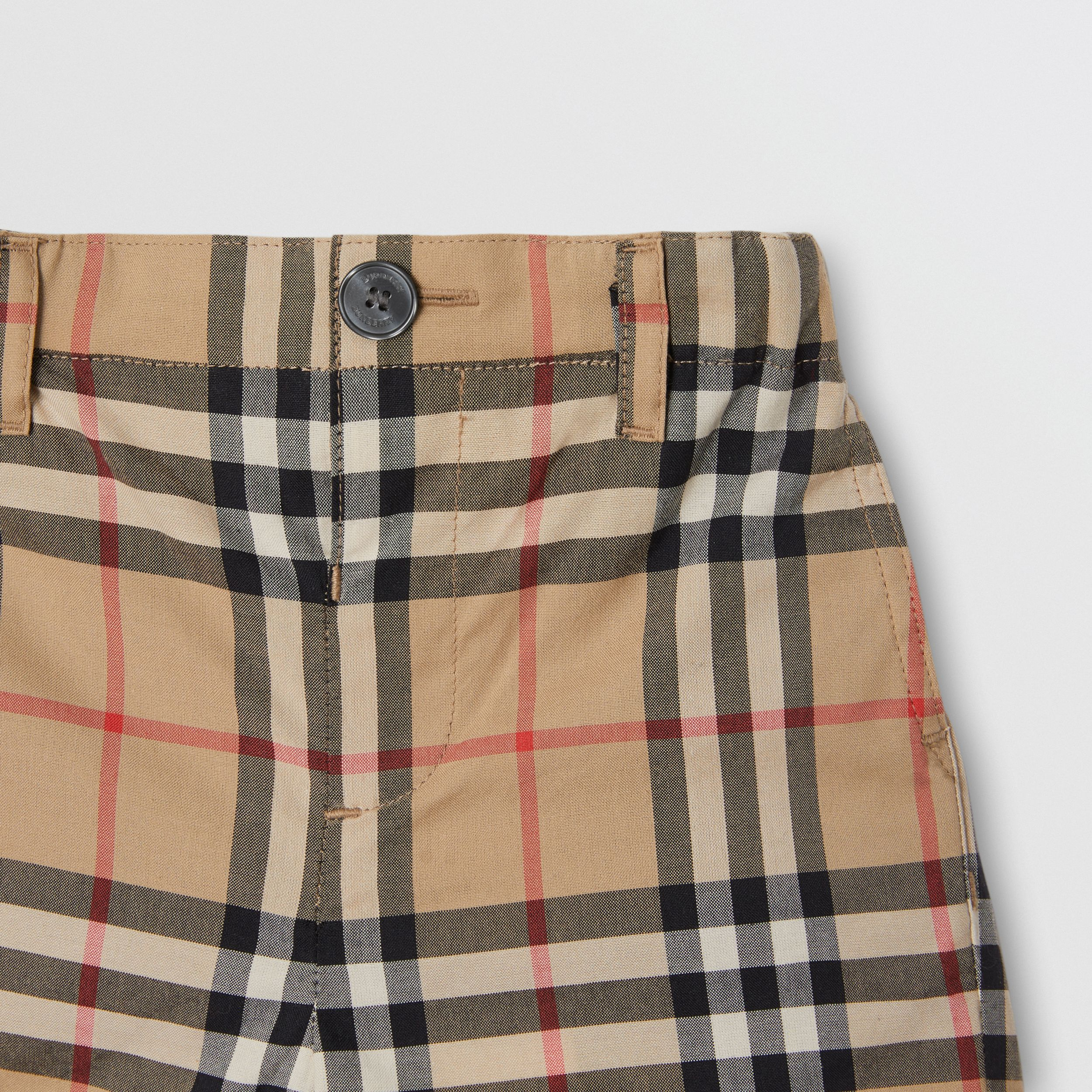 Vintage Check Cotton Poplin Tailored Shorts in Archive Beige - Children | Burberry - 4