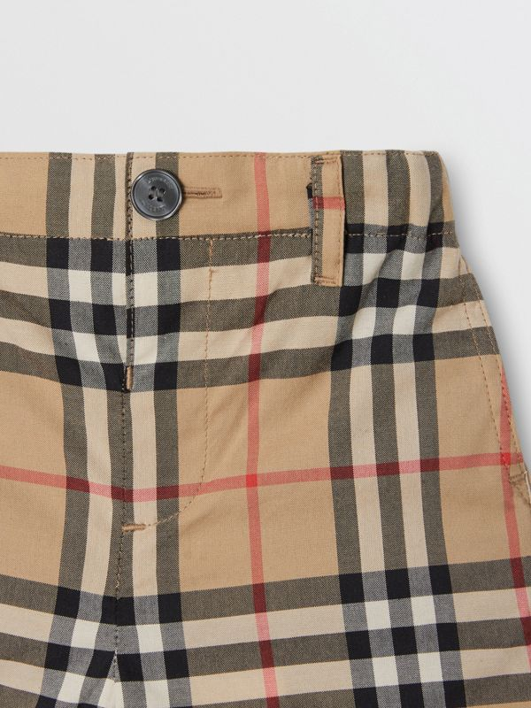Vintage Check Cotton Poplin Tailored Shorts in Archive Beige - Children | Burberry Canada - cell image 3