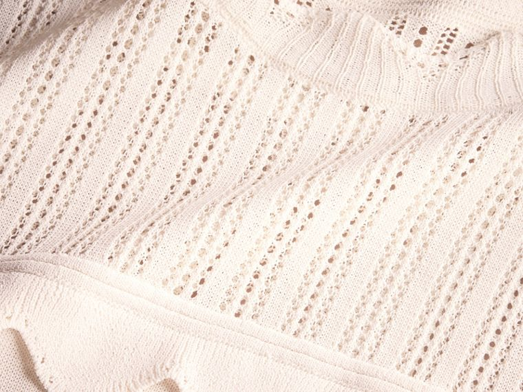 Scallop Detail Multi-stitch Swing Dress in Natural White - Women | Burberry - cell image 1
