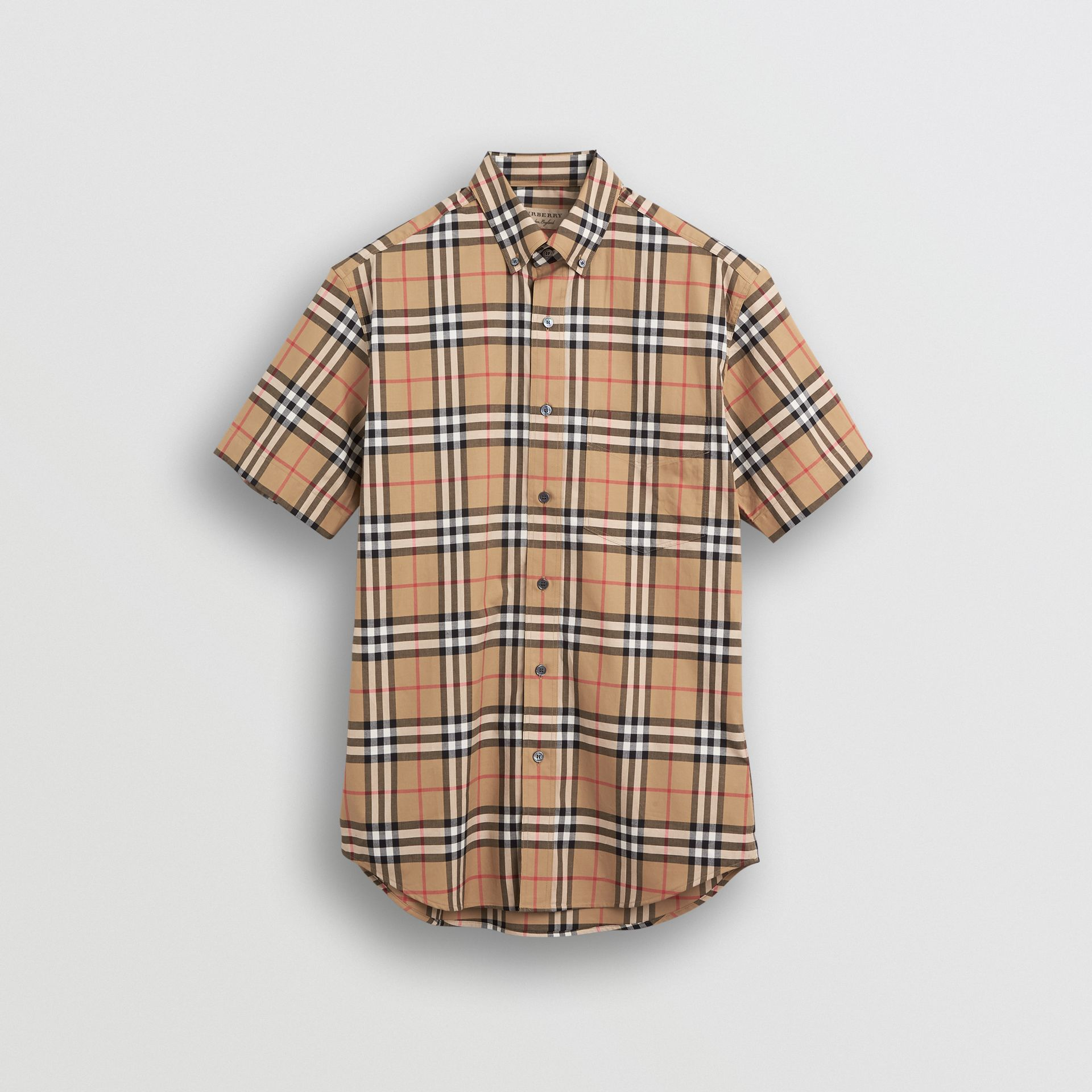 Short-sleeve Vintage Check Shirt in Antique Yellow | Burberry Australia - gallery image 3
