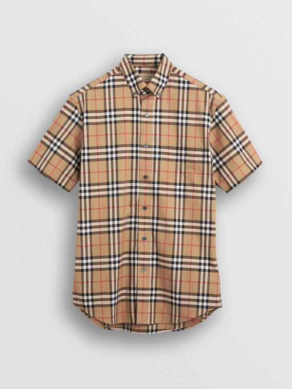 Short-sleeve Vintage Check Shirt in Antique Yellow | Burberry United Kingdom - cell image 3