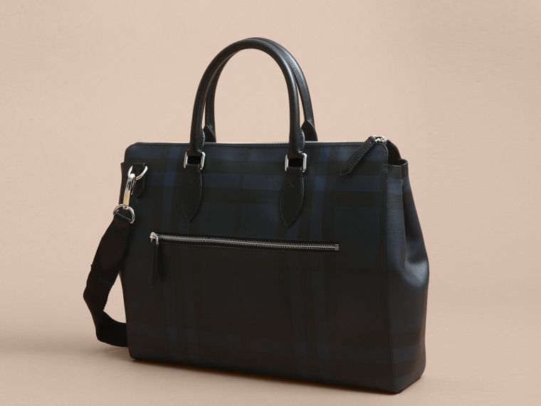 Large London Check Briefcase in Navy/black - Men | Burberry - cell image 4