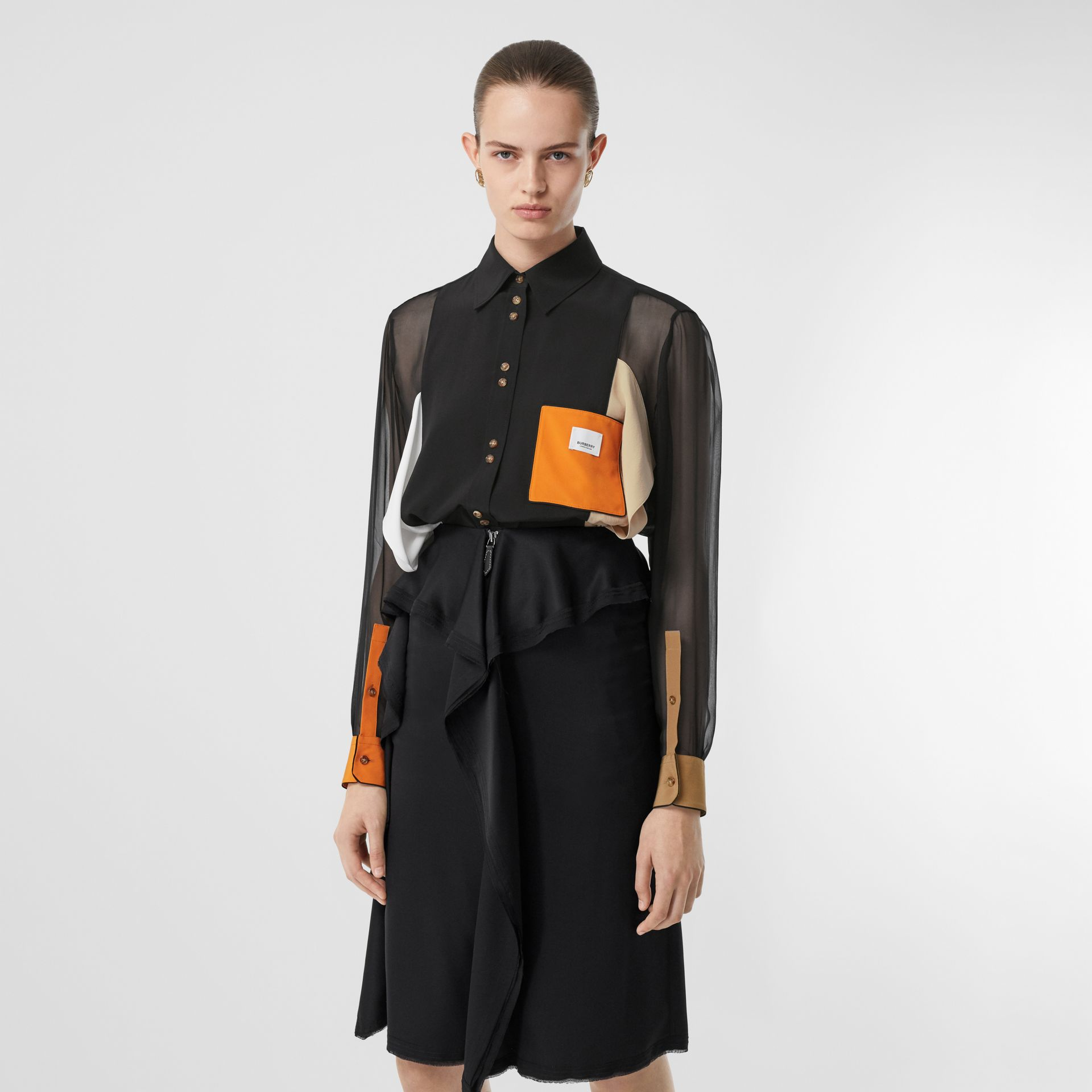 Colour Block Silk Shirt in Black - Women | Burberry - gallery image 0