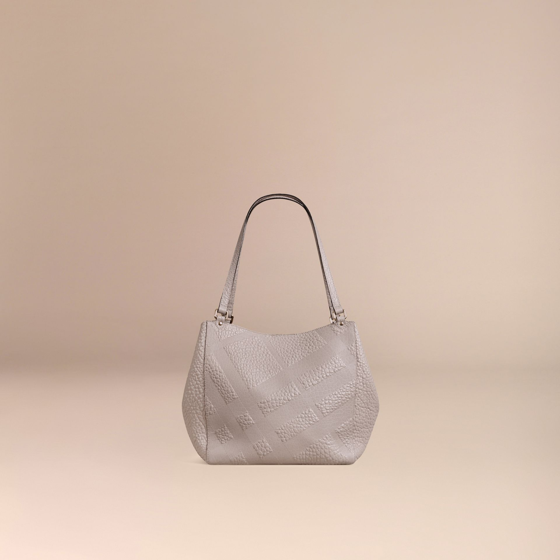 Pale grey The Small Canter in Check Embossed Leather Pale Grey - gallery image 4