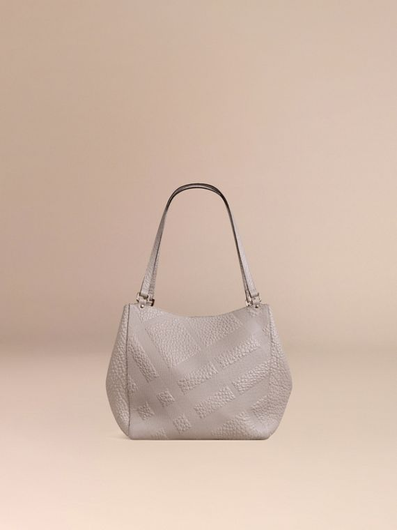 Pale grey The Small Canter in Check Embossed Leather Pale Grey - cell image 3