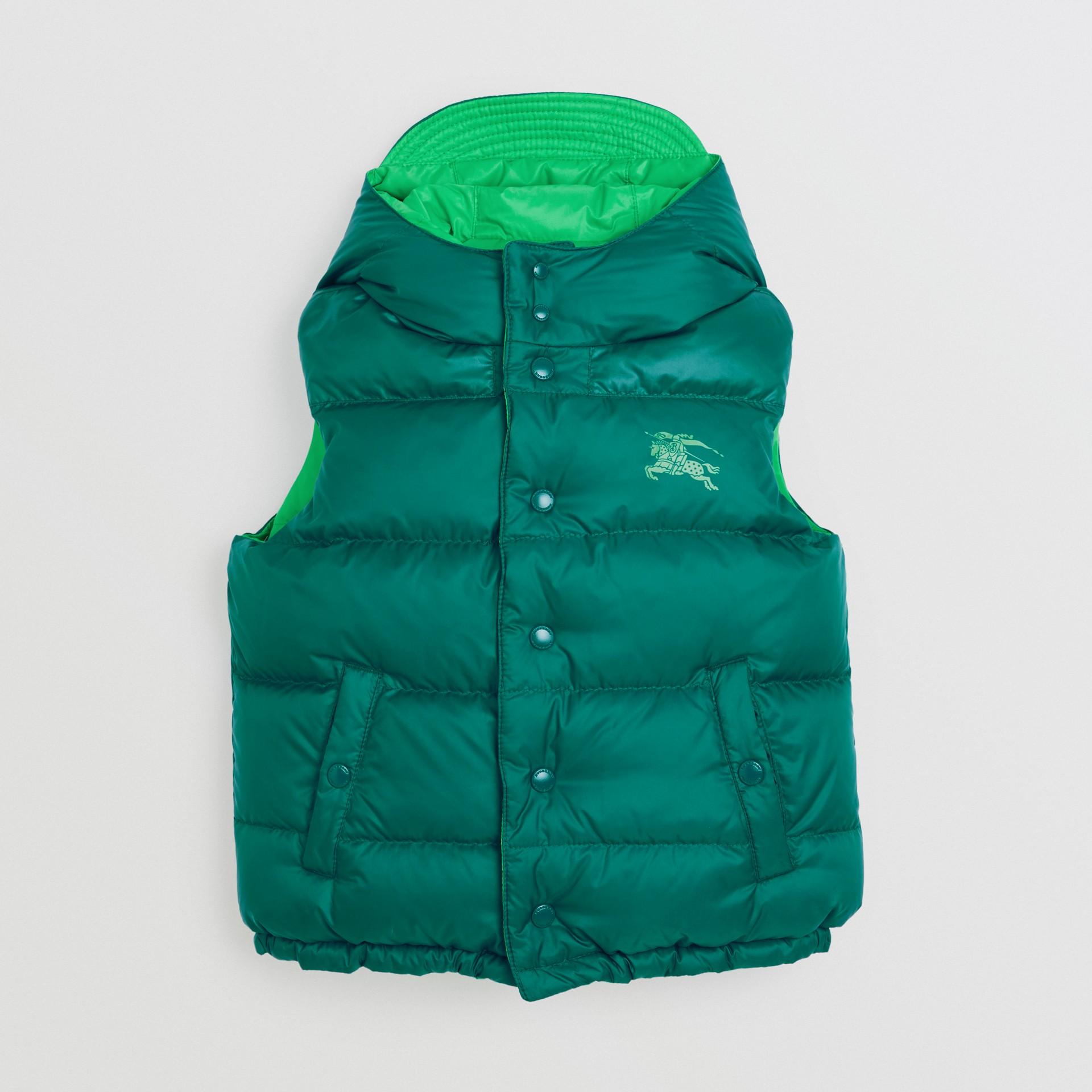 Gilet reversibile resistente alla pioggia con imbottitura e cappuccio (Ciano Scuro) | Burberry - immagine della galleria 0