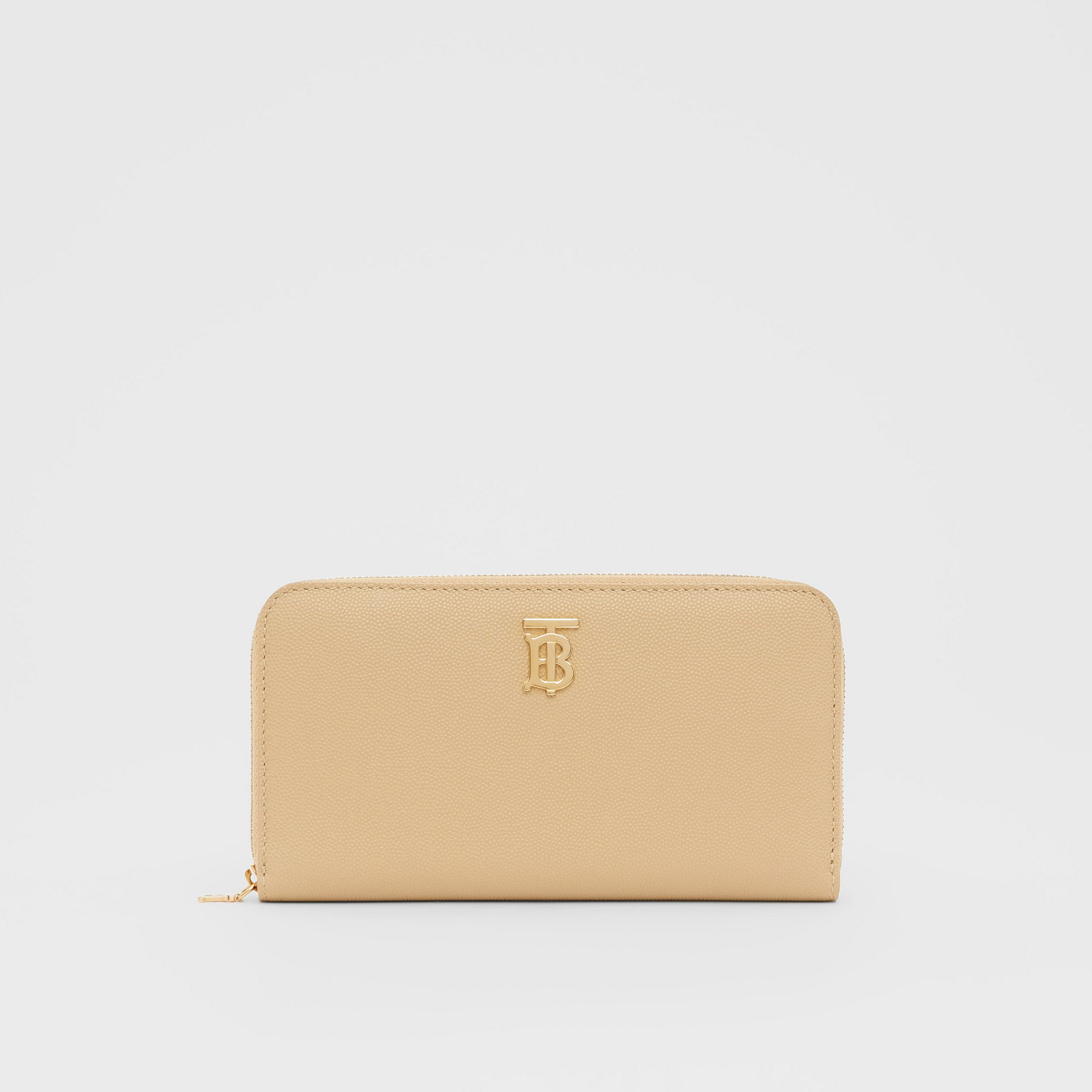Monogram Motif Grainy Leather Ziparound Wallet in Archive Beige - Women | Burberry - 1