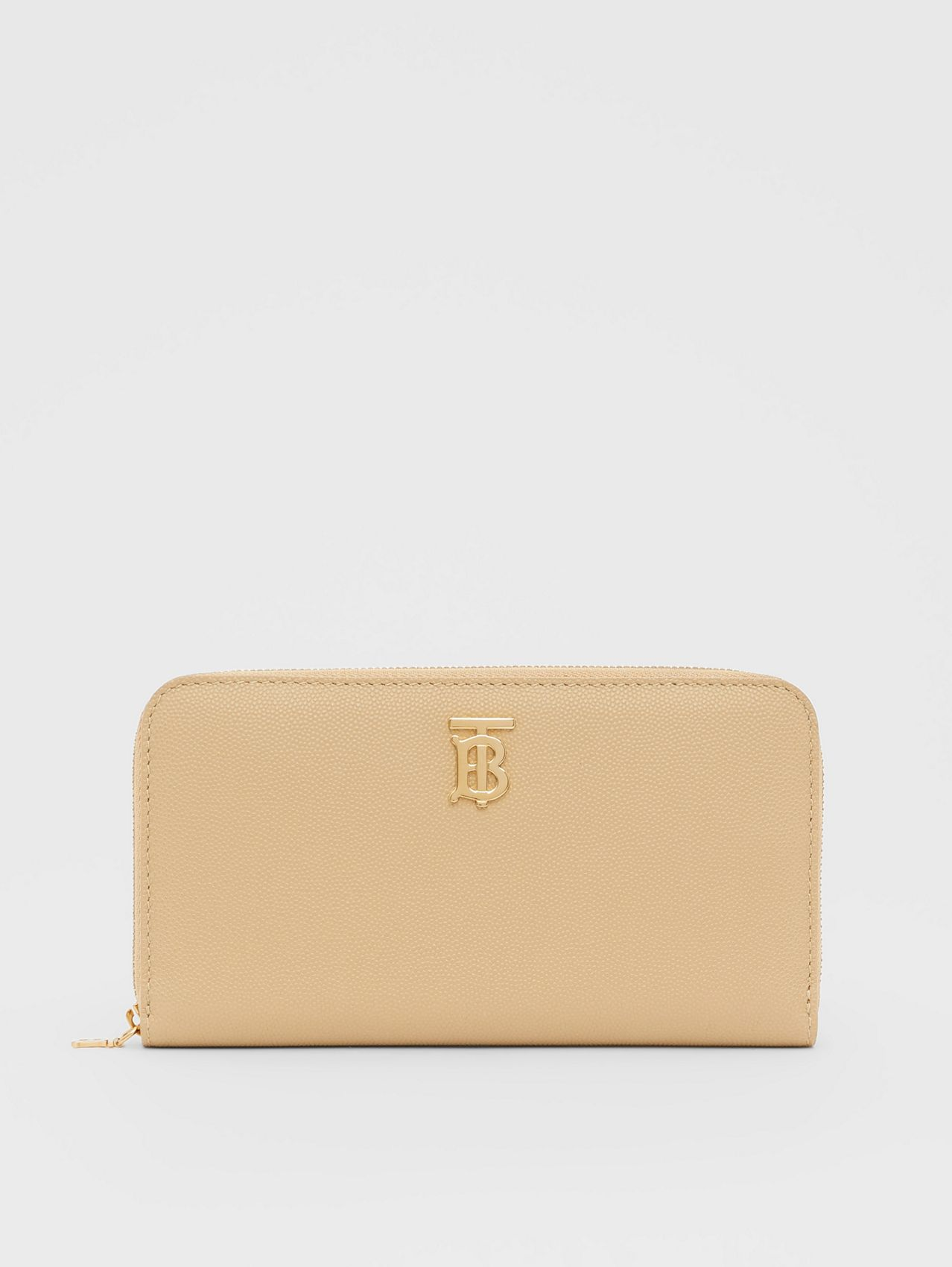 Monogram Motif Grainy Leather Ziparound Wallet in Archive Beige