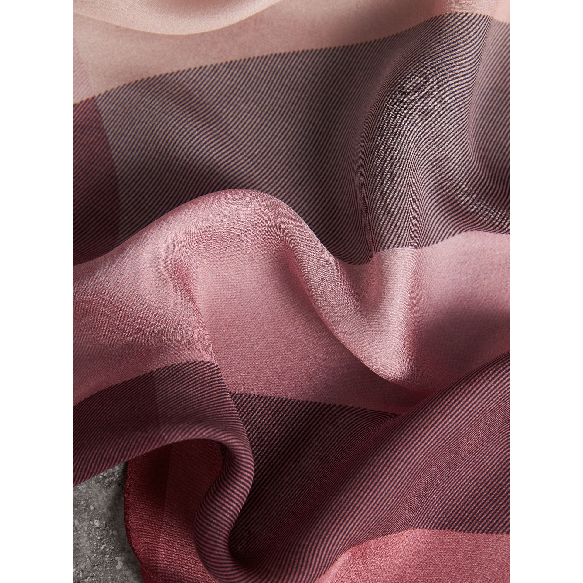 Ombré Washed Check Silk Scarf in Ash Rose - Women | Burberry Australia - gallery image 2