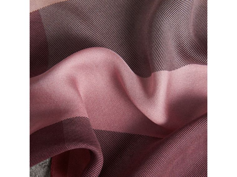 Ombré Washed Check Silk Scarf in Ash Rose - Women | Burberry Australia - cell image 1