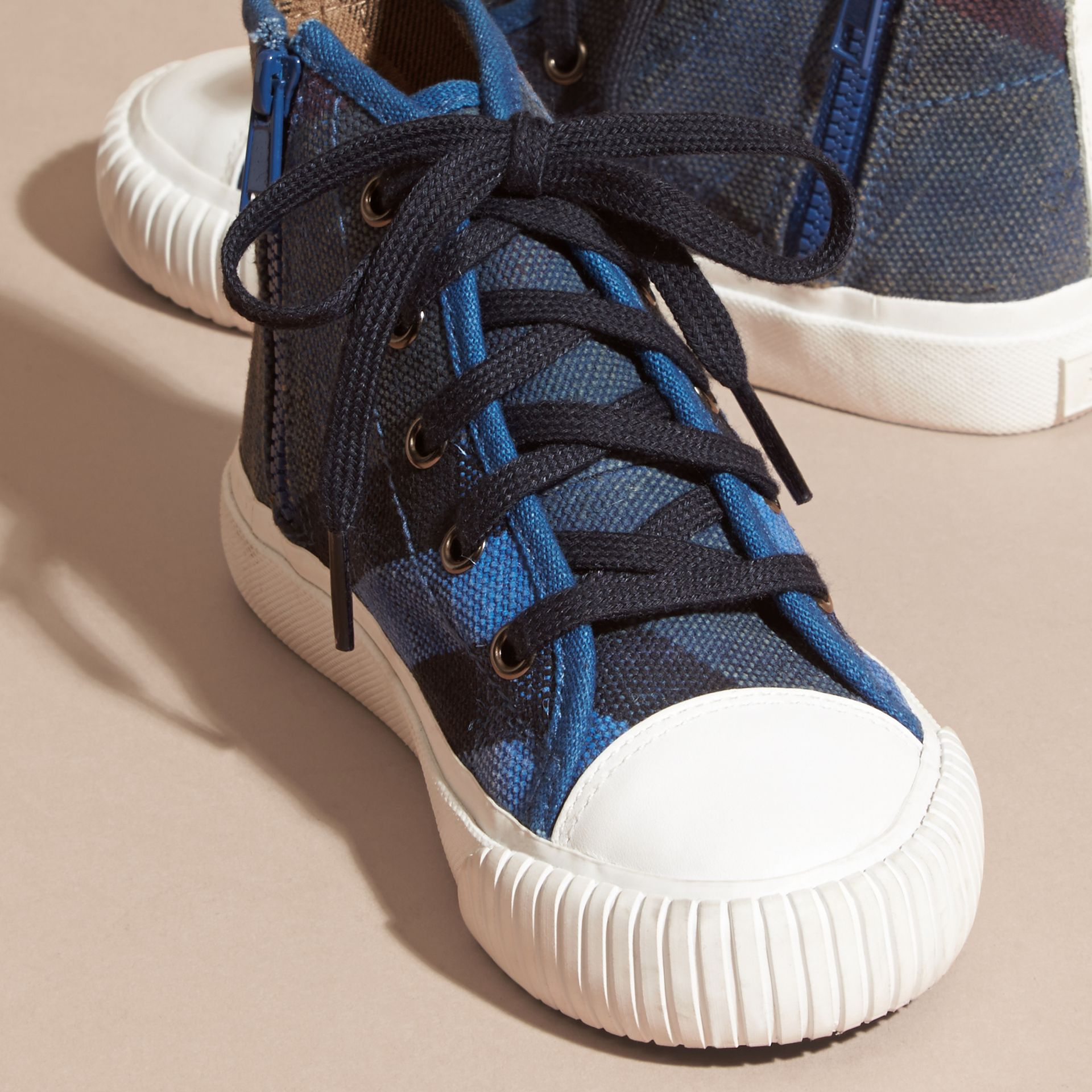 Ultramarine blue Canvas Check High-top Sneakers - gallery image 3