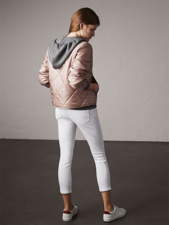 Collarless Diamond Quilted Lightweight Jacket in Nude - Women | Burberry - cell image 2