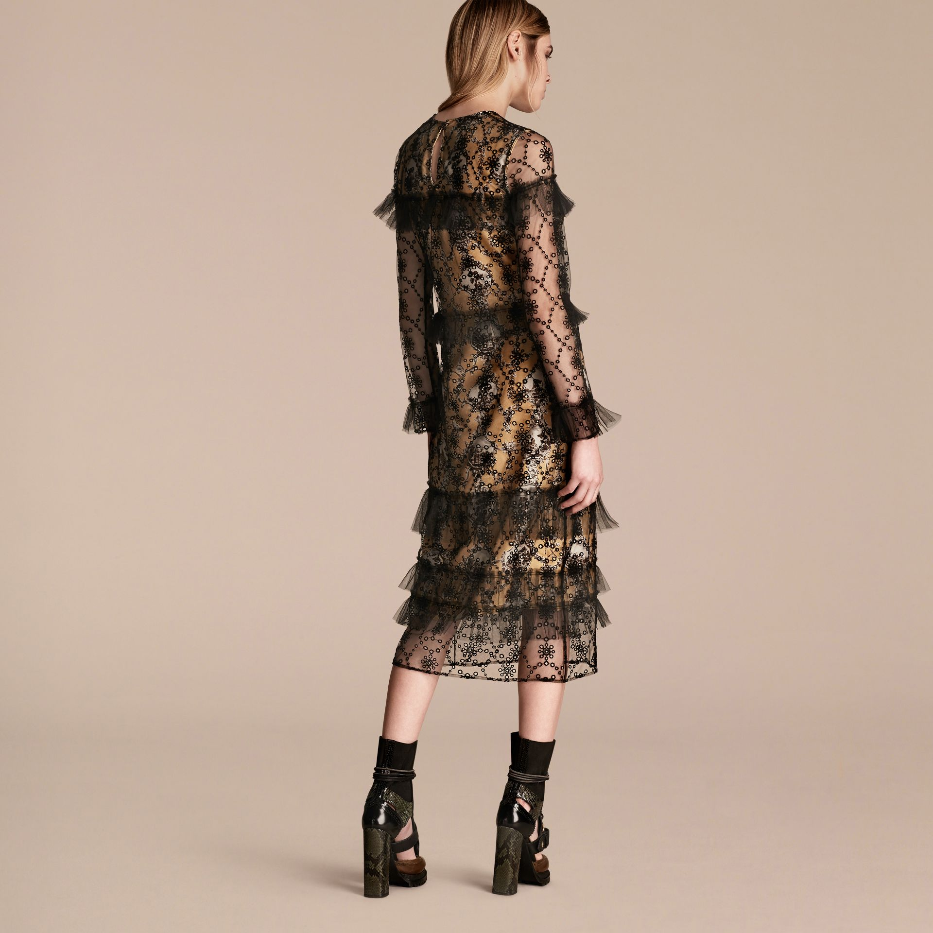 Black Embroidered Tulle Dress with Printed Silk Lining - gallery image 3