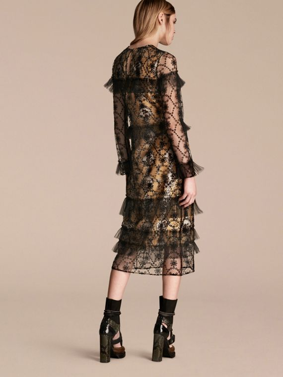 Black Embroidered Tulle Dress with Printed Silk Lining - cell image 2