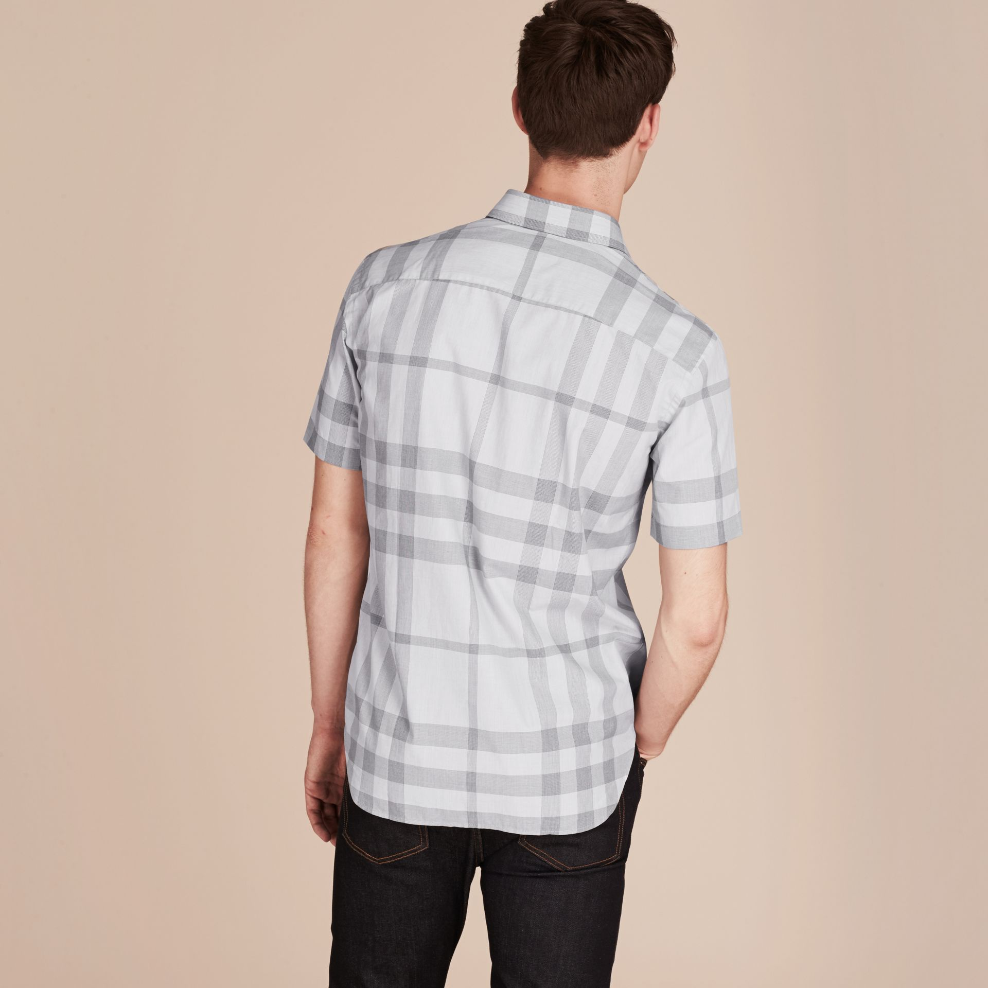 Pale grey Short-sleeved Check Cotton Shirt - gallery image 3