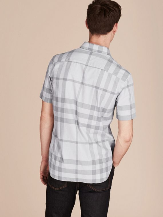 Pale grey Short-sleeved Check Cotton Shirt - cell image 2