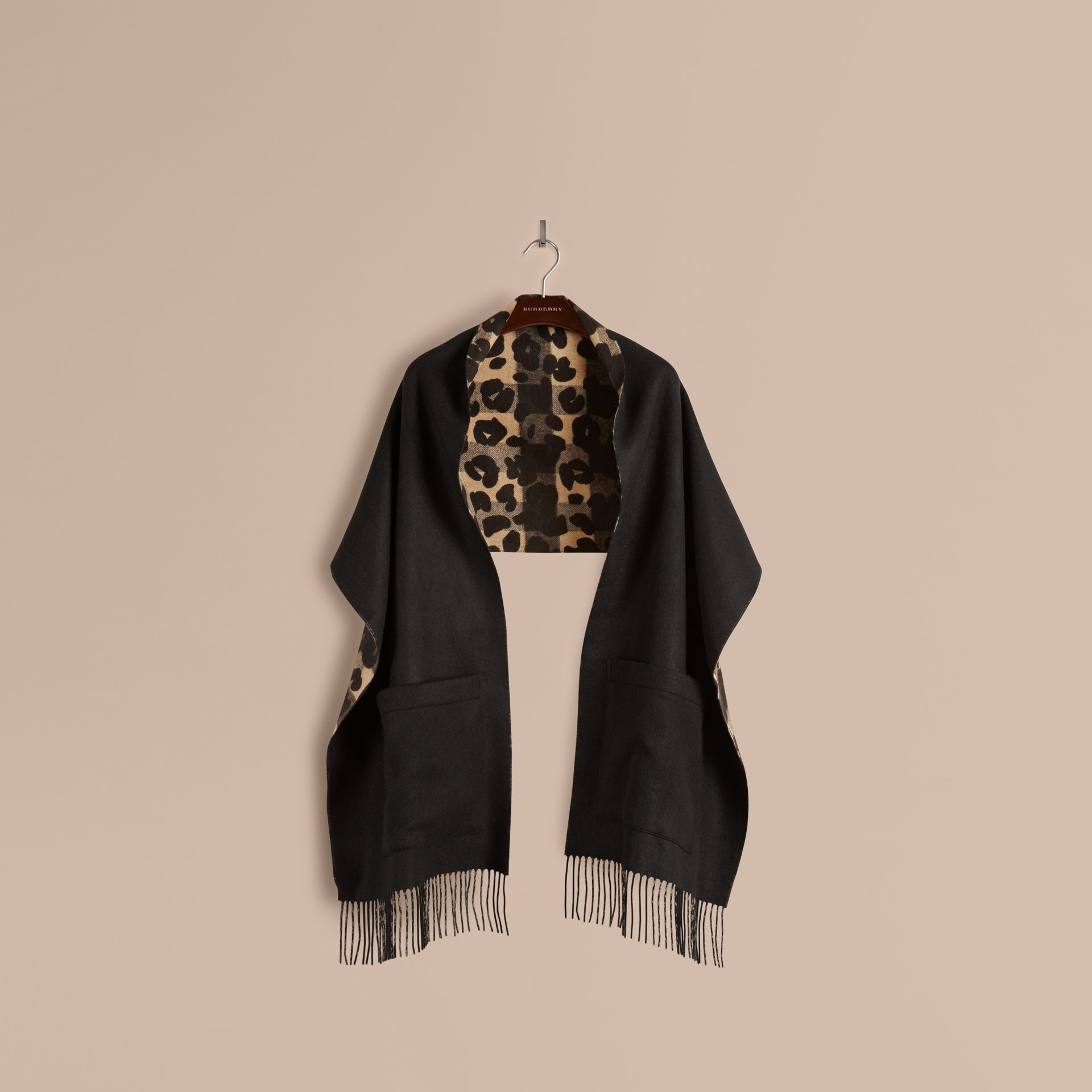 Animal Pattern Merino Wool Cashmere Stole - Women | Burberry Australia - gallery image 4