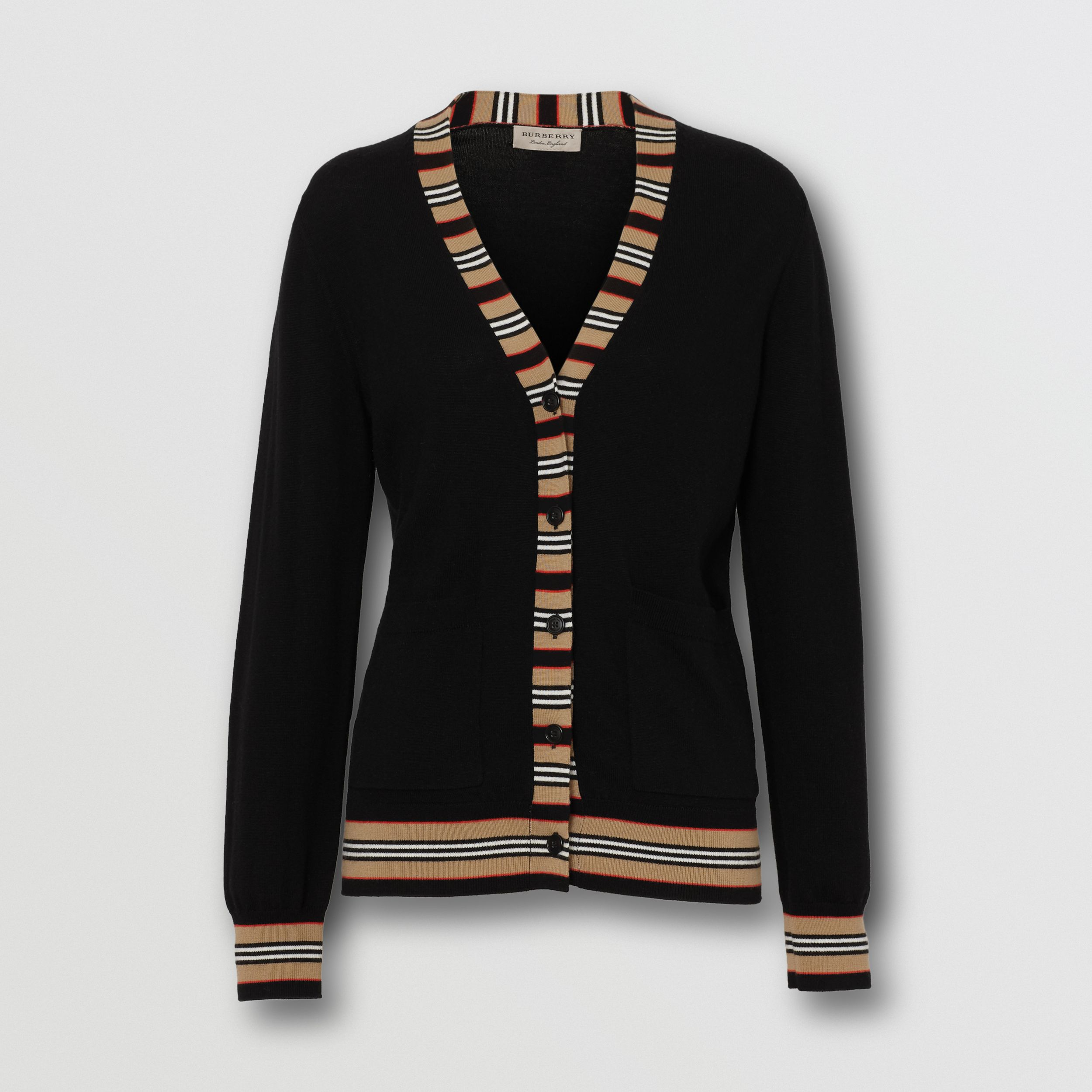 Icon Stripe Detail Merino Wool Cardigan in Black - Women | Burberry - 4