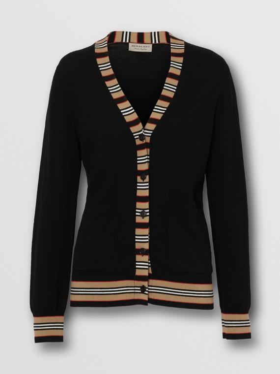 Icon Stripe Detail Merino Wool Cardigan in Black