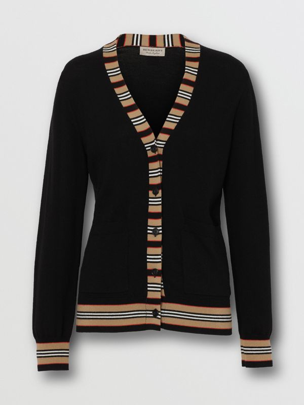 Icon Stripe Detail Merino Wool Cardigan in Black - Women | Burberry Hong Kong - cell image 3