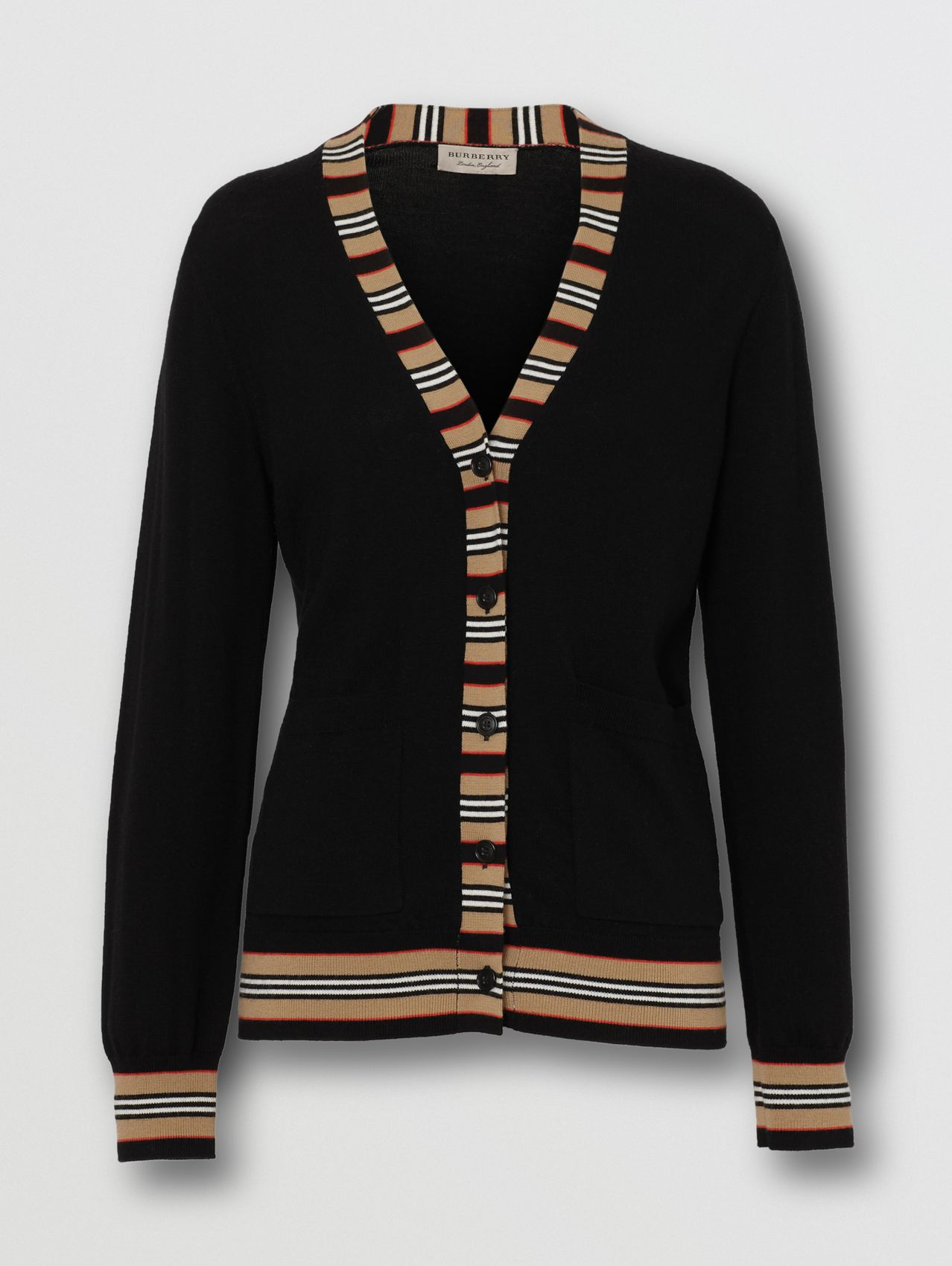 Icon Stripe Detail Merino Wool Cardigan (Black)