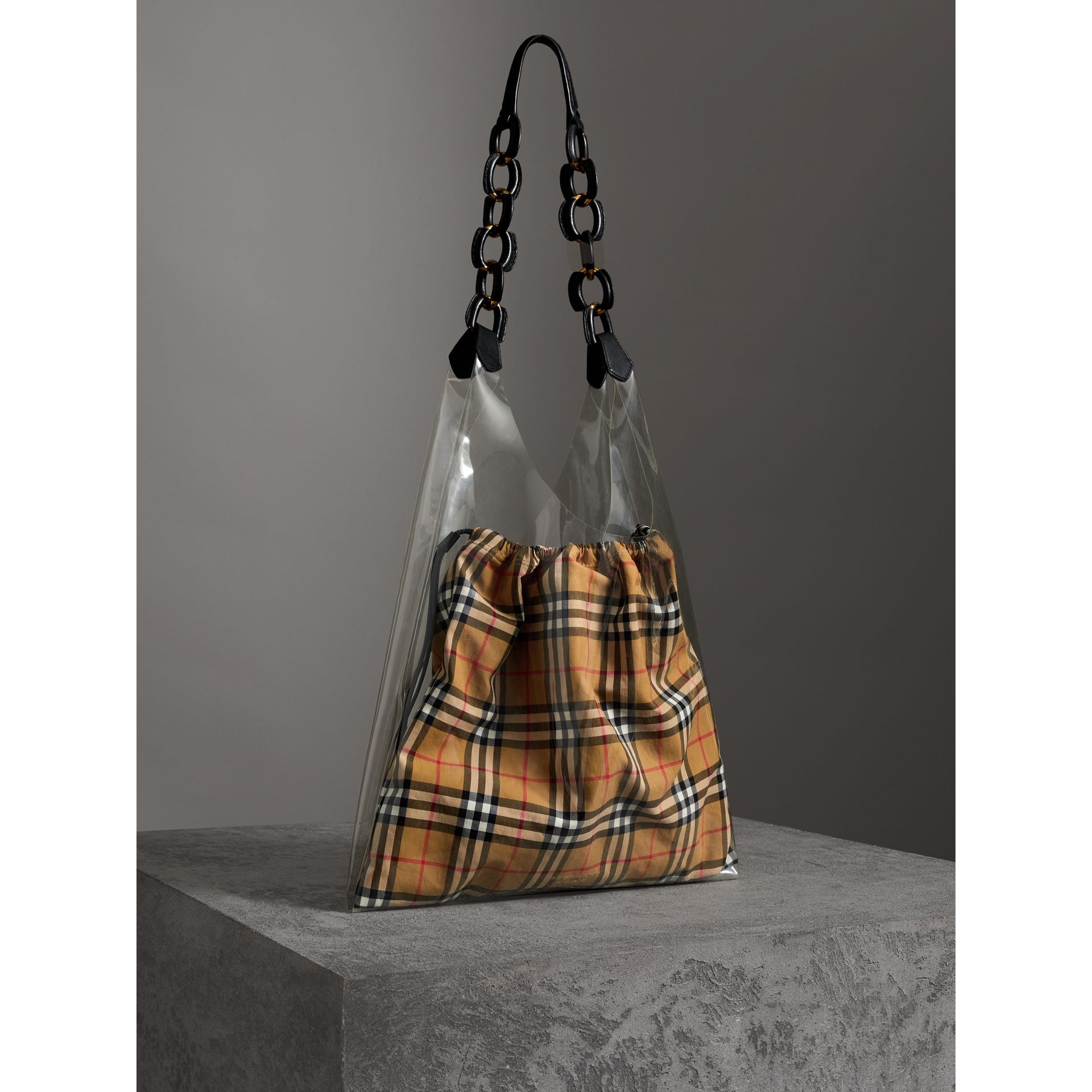 Medium Plastic Shopper with Vintage Check Pouch in Antique Yellow/black - Women | Burberry Australia - gallery image 6