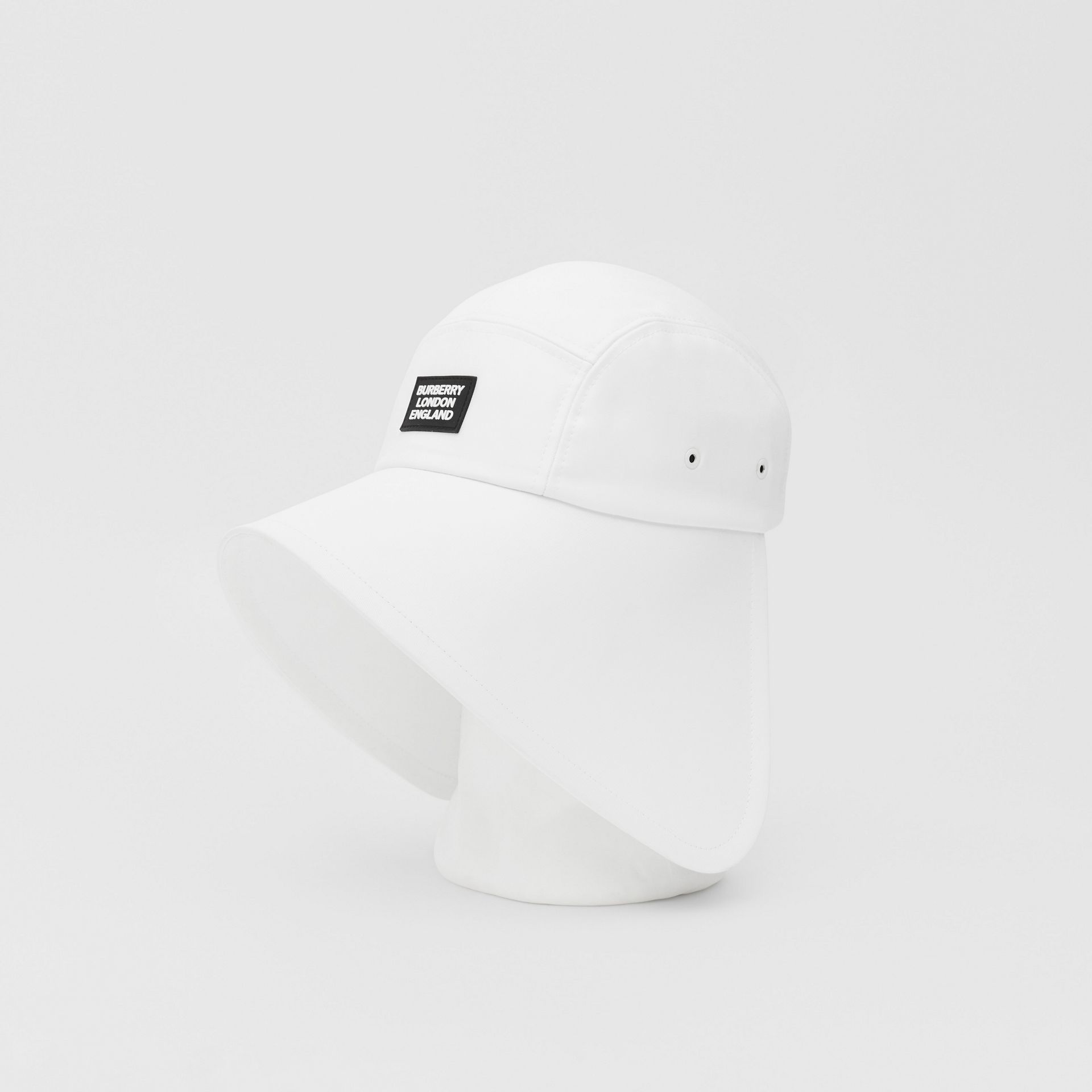 Logo Appliqué Cotton Bonnet Cap in Optic White | Burberry United States - gallery image 5