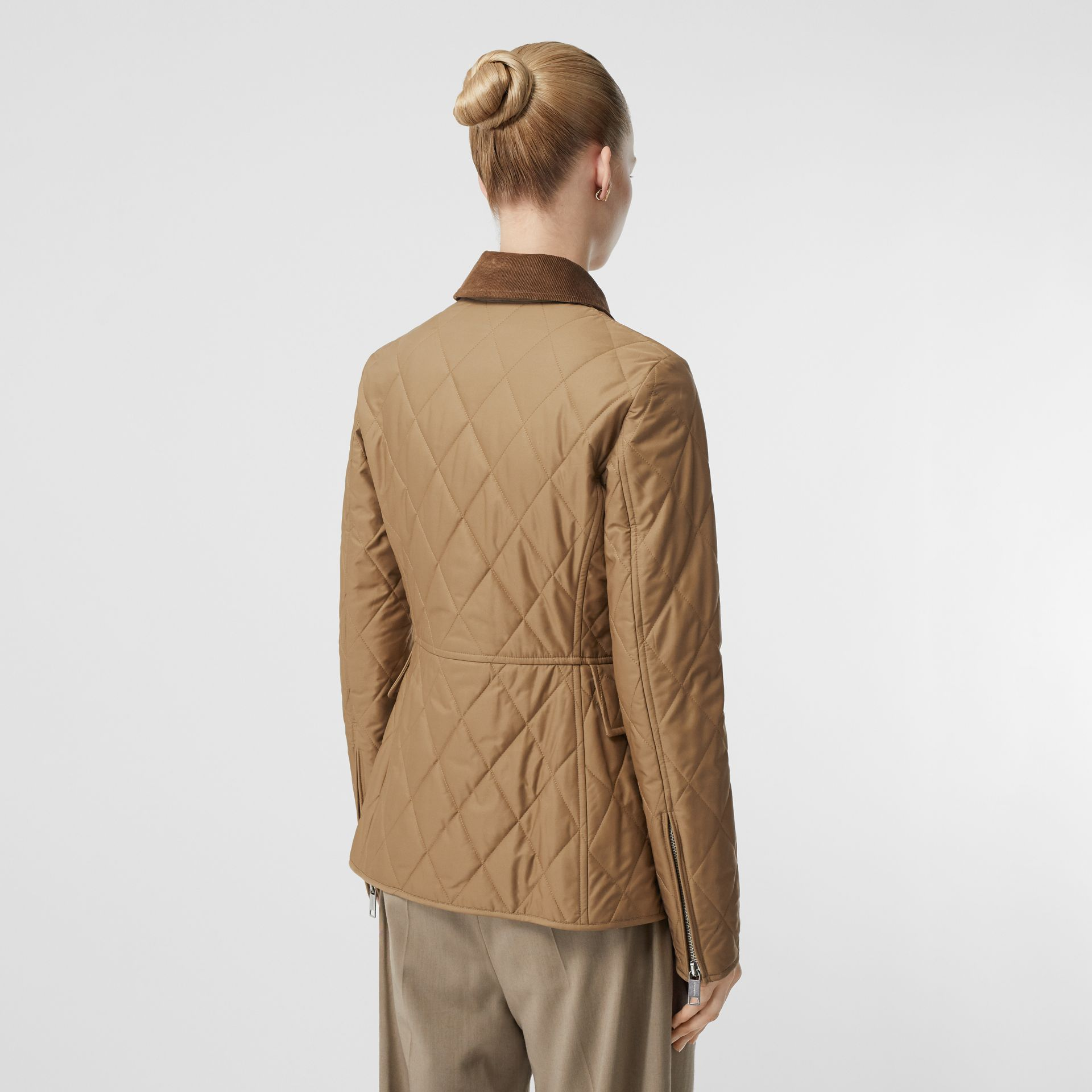 Monogram Motif Quilted Riding Jacket in Honey - Women | Burberry - gallery image 2