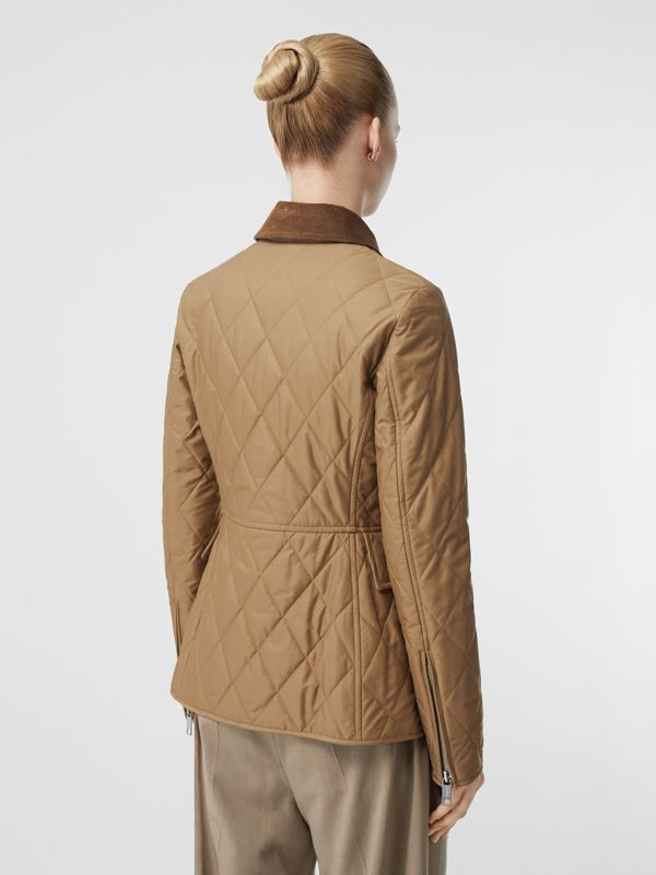 Monogram Motif Quilted Riding Jacket in Honey - Women | Burberry United Kingdom - cell image 2