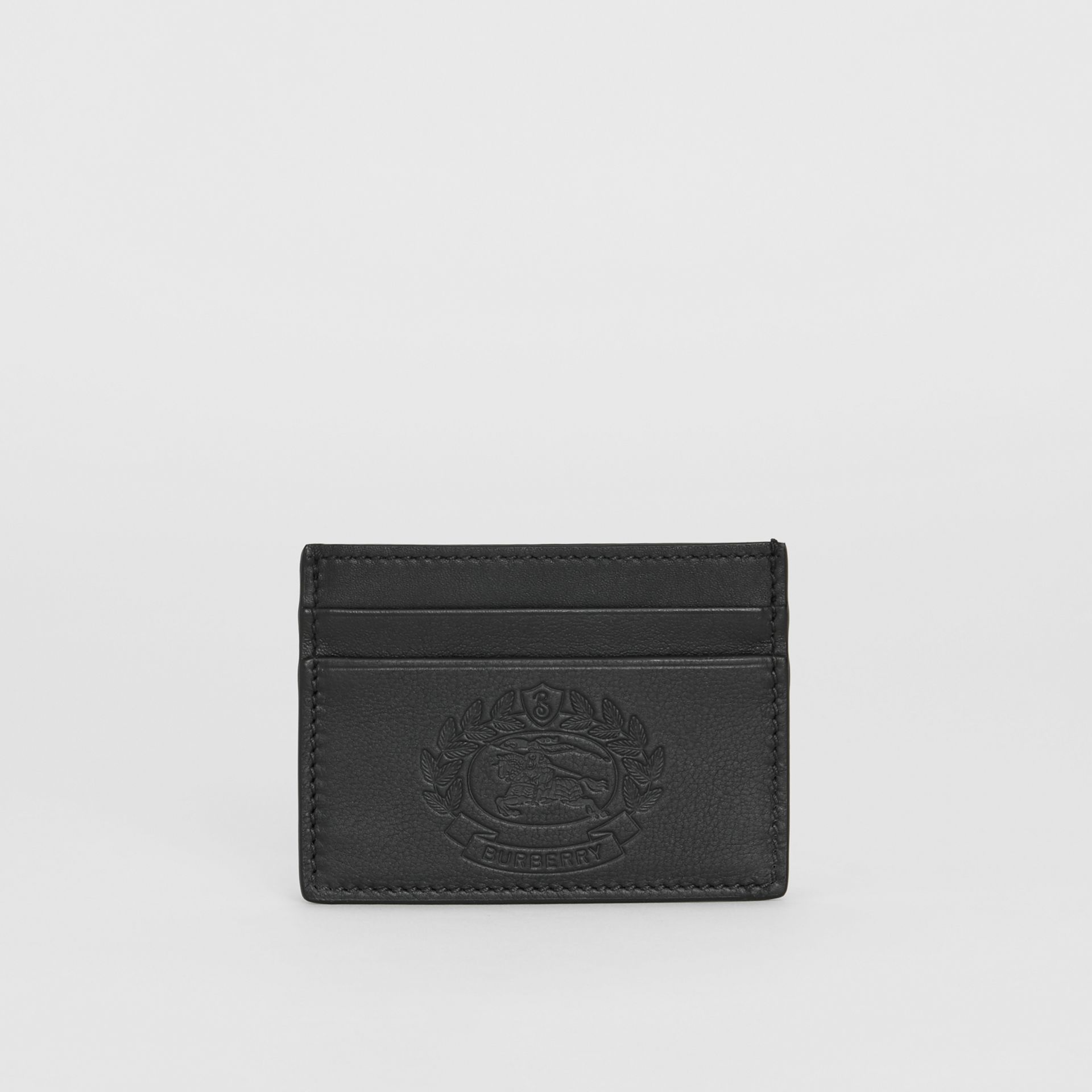 Embossed Crest Leather Card Case in Black - Men | Burberry - gallery image 4