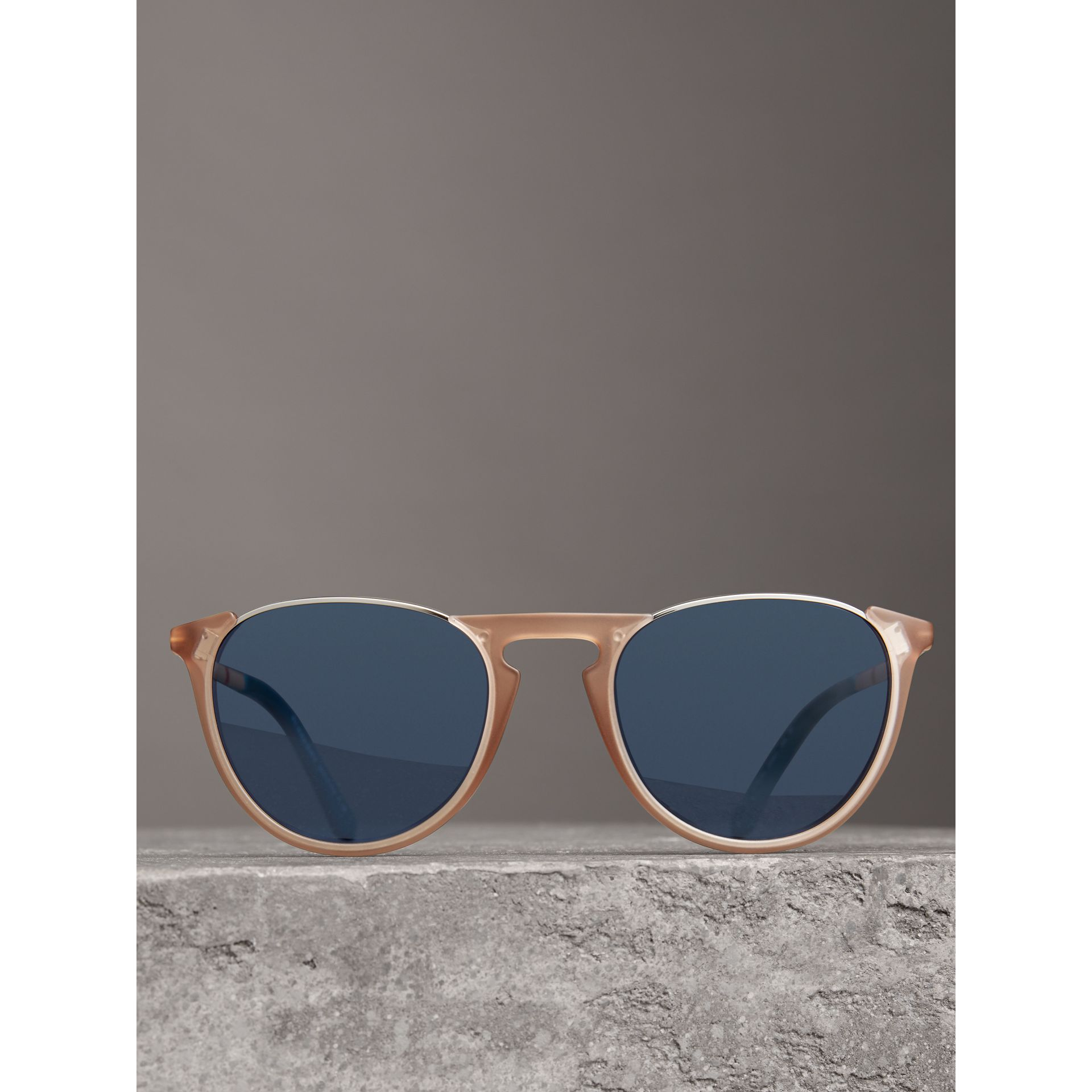 Keyhole Pilot Round Frame Sunglasses in Nude - Men | Burberry - gallery image 2