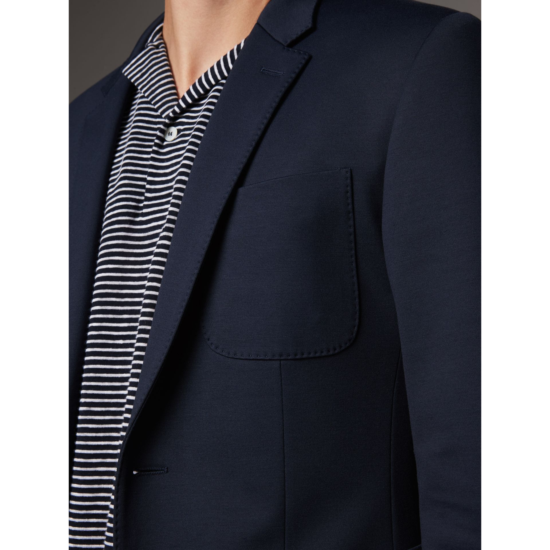 Slim Fit Cotton Blend Travel Tailoring Suit in Navy - Men | Burberry - gallery image 5