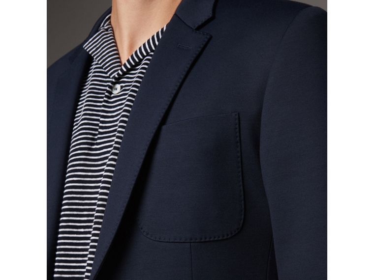 Slim Fit Cotton Blend Travel Tailoring Suit in Navy - Men | Burberry - cell image 4