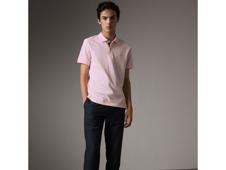Check Placket Cotton Piqué Polo Shirt in City Pink - Men | Burberry - cell image 4
