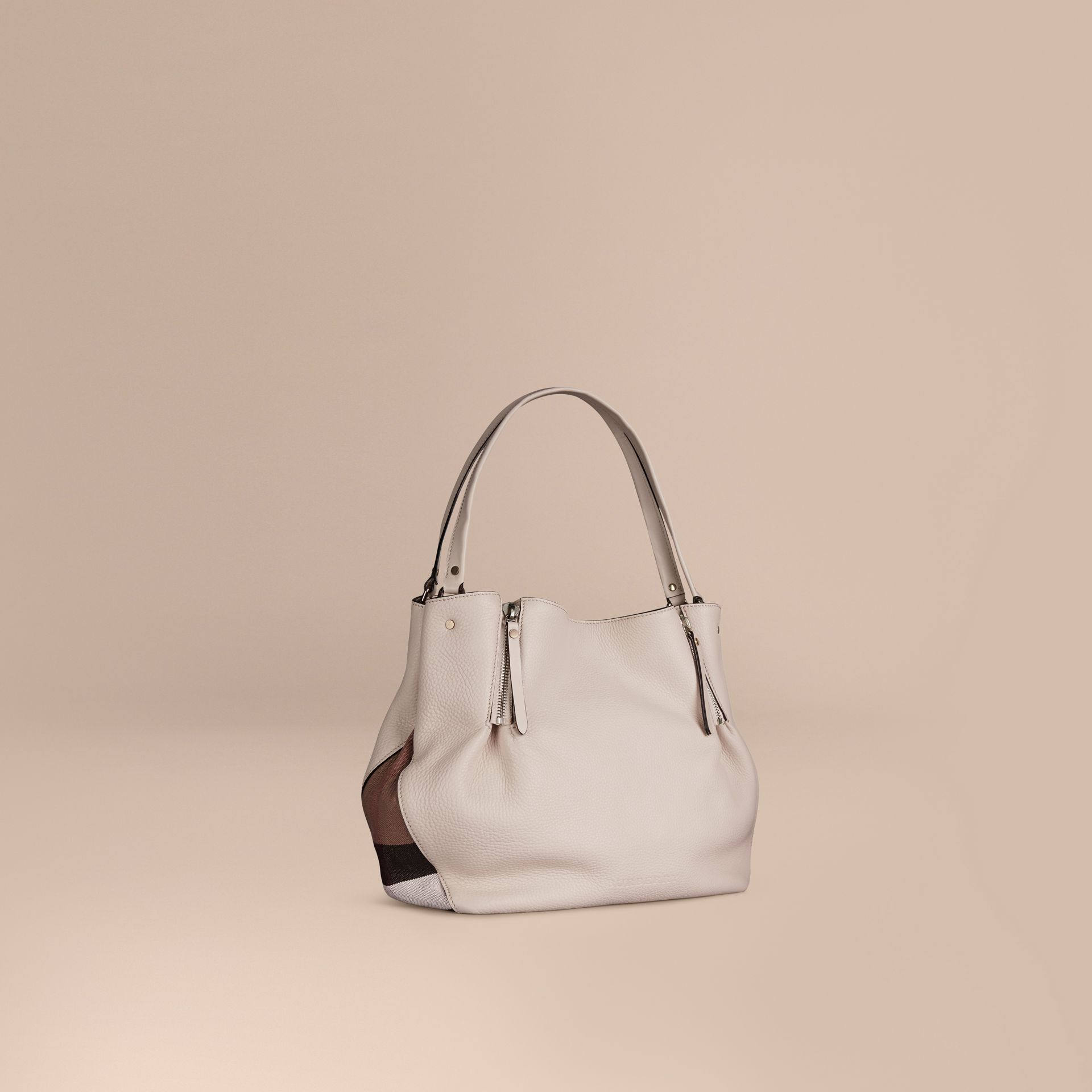 White Medium Check Detail Leather Tote Bag White - gallery image 1