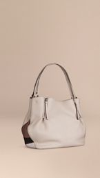 Medium Check Detail Leather Tote Bag