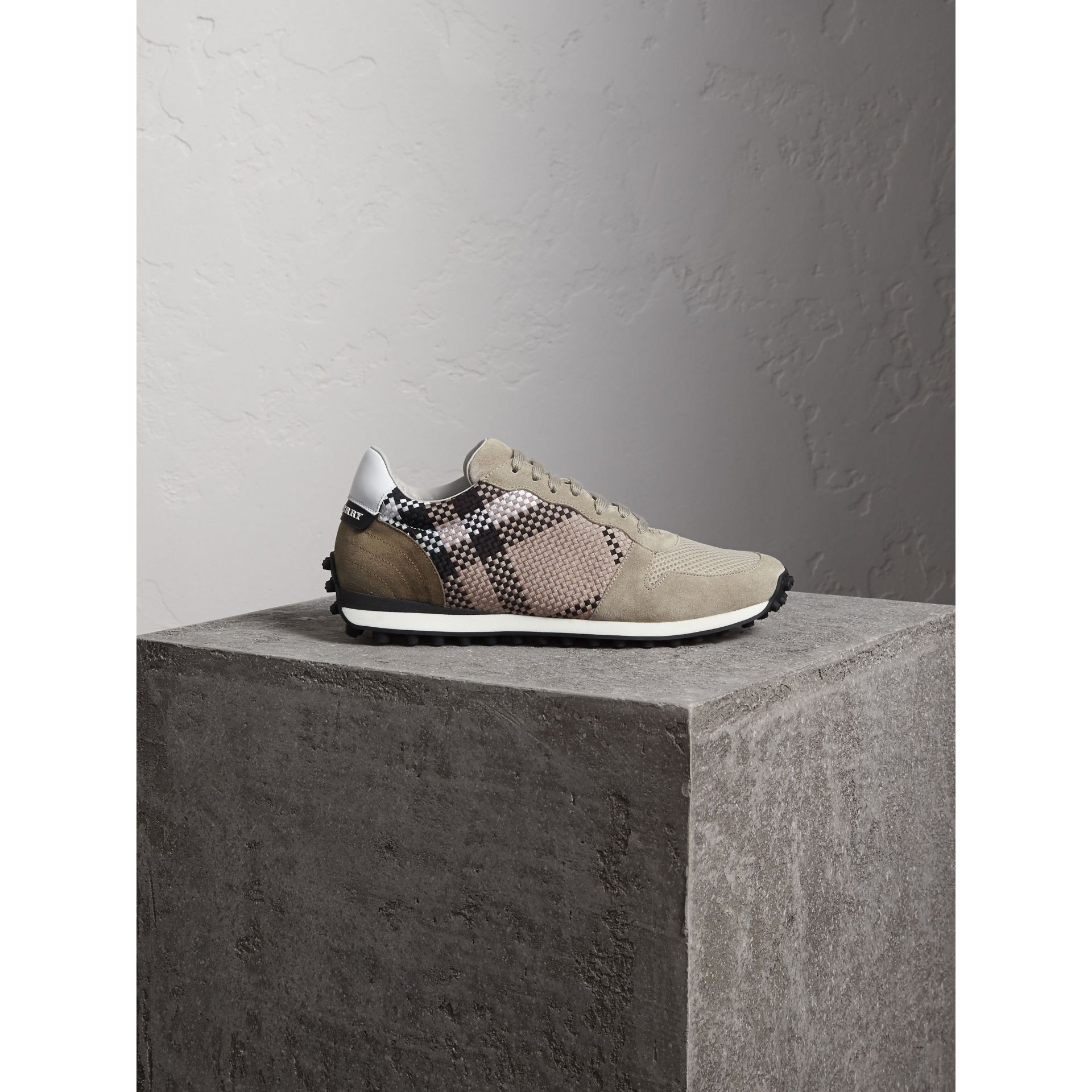 Woven Check Suede Trainers in Storm Grey - Men | Burberry United Kingdom - gallery image 1