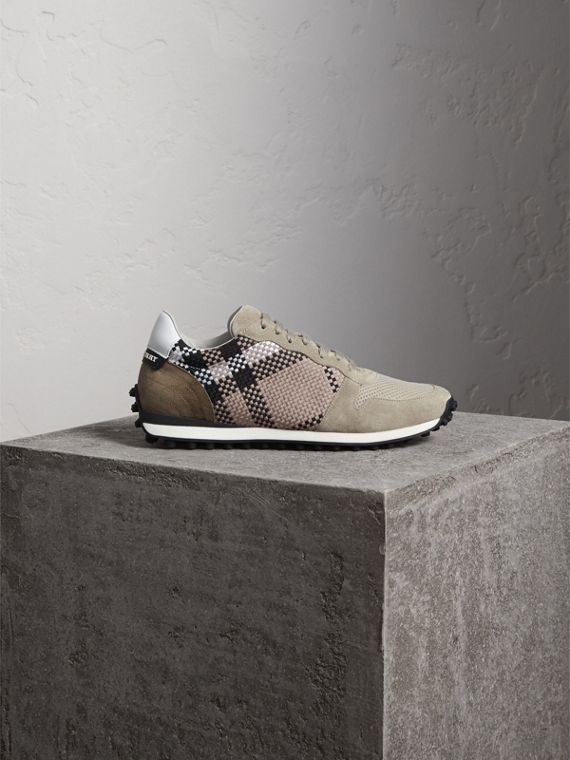 Woven Check Suede Trainers in Storm Grey