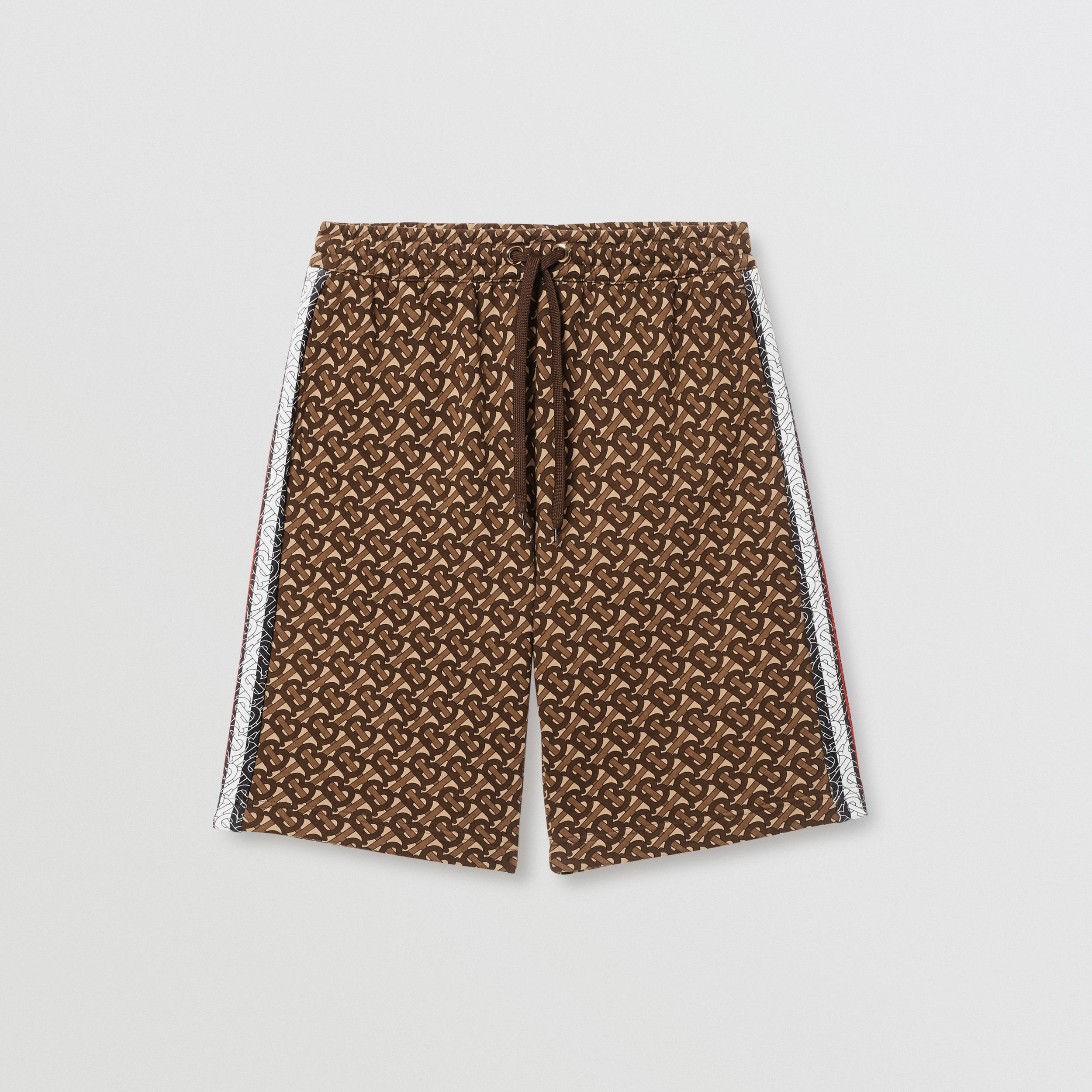 Monogram Stripe Print Cotton Drawcord Shorts in Bridle Brown - Men | Burberry - 4
