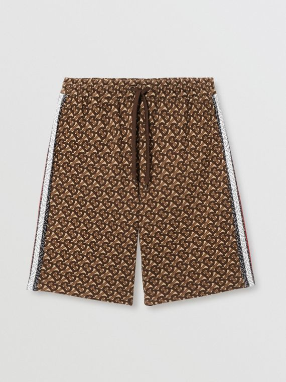 Monogram Stripe Print Cotton Drawcord Shorts in Bridle Brown
